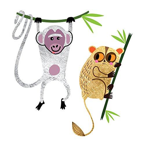 Monkey Lemur Animal - SAFARI MONKEYING AROUND set of 25 premium waterproof metallic colorful temporary jewelry foil animal Flash Tattoos - Party Favors, Party Supplies, jungle, safari, monkey, lemur