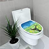 LiHomecurtain Toilet Sticker A Man on The Road Home Decor Applique Papers W14 x L14