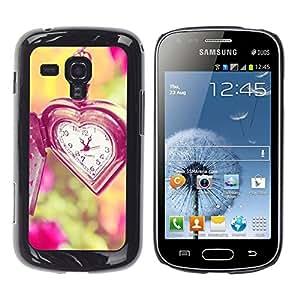 YOYOYO Smartphone Protección Defender Duro Negro Funda Imagen Diseño Carcasa Tapa Case Skin Cover Para Samsung Galaxy S Duos S7562 - amor el tiempo no espera viñeta verano profunda