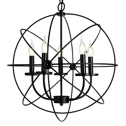 Electro_BP Rustic Barn Metal Spherical Chandelier Max 300W With 5 Light Black Finish