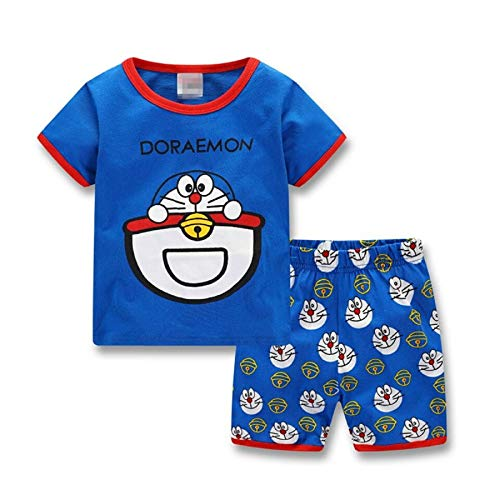 Lovely Summer Cotton Doraemon Children Clothing Short Sleeve Tops+Shorts Kids Pajamas Set Sleepwear for 2-7 Years Boy Girls (Blue, -