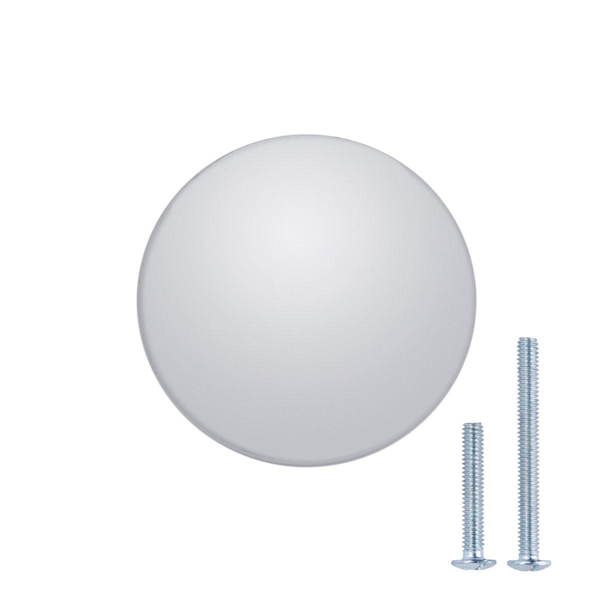 AmazonBasics Round Flat Cabinet Knob, 1.37'' Diameter, Polished Chrome, 25-Pack by AmazonBasics