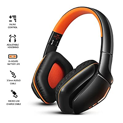 OldShark Foldable Over Ear Bluetooth Headphones with Mic V4.1 Wireless and Wired Dual Mode Earphones Detachable 3.5mm Audio Cable Orange