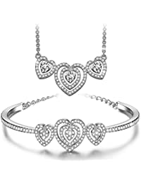 """""""Loving Song"""" White-Gold Plated Sweet Heart Necklace Bracelet Set made with Swarovski Crystal Jewelry"""