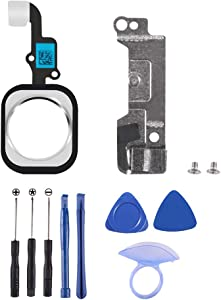 D-FLIFE Home Button Replacement Homebutton with Flex incl 1set Standard Replacement Tool kit Compatible for iPhone 6 Plus(for iPhone 6p Silver)