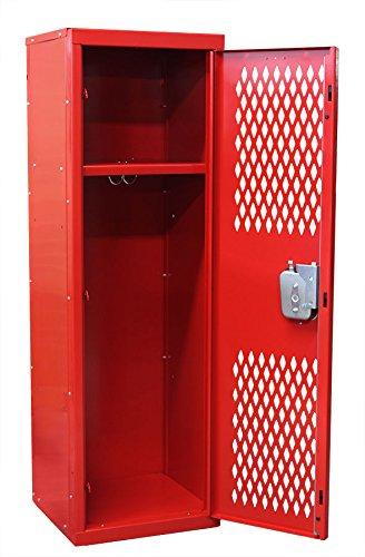 Hallowell Home Team Locker, 15''W x 15''D x 48''H, Blue Body / Red Door, Single Tier, 1-Wide, Knock-Down