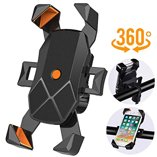 New Bike Phone Mount Holder with 4 Corner Arms 360° Rotation,Adjustable Handlebar Cradle for Road Motorcycle & Mountain Bicycle, Cycling Accessories for iPhone X 8 7 6 Plus Galaxy GPS 4.7 to 7 inches