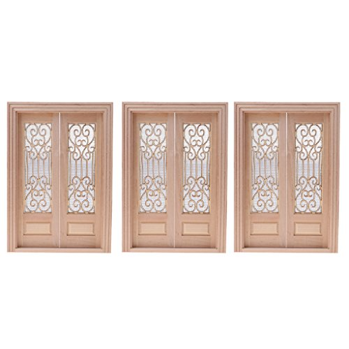 MagiDeal 3 Pieces Vintage Wood External Hollow Screen Double Door for 1/12 Dolls House Rooms DIY Accessories (Doll Wood Vintage)