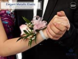 Silver/White Corsage Wrist Bands, Elastic Wristlets for Wedding Prom Flowers, Pack of 20, by Royal Imports