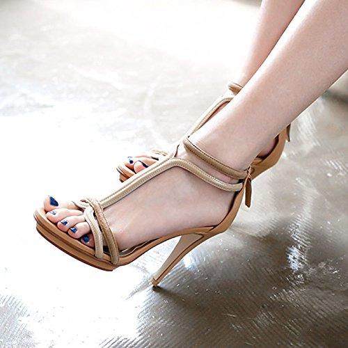 Grueso del verano de la plataforma inferior impermeable sandalias de tacón alto de las mujeres con una fina Palabra con un paquete de zapatos de punta tacón Khaki