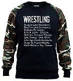 Men's Wrestling Moves Black/Camo Raglan Baseball Sweatshirt Large Black