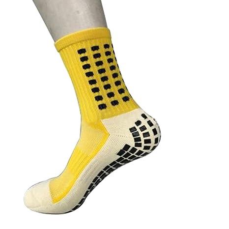 AchidistviQ Calcetines de fútbol Antideslizantes para Hombre, Calcetines Deportivos medianos Amarillo Amarillo