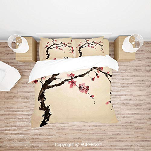 - SCOXIXI 3D Duvet Cover Bedding Sets Traditional Chinese Paint of Figural Tree with Details Brushstroke Effects Print (Comforter Not Included) Soft, Breathable, Hypoallergenic, Fade Resistant