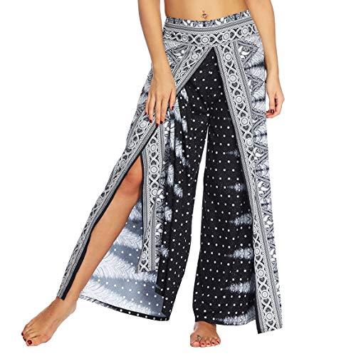 BROVAVE Women's Palazzo Pants Slit Wide Leg Bohemian Vintage Casual Yoga Pants