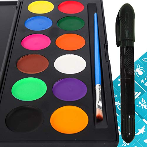(Face Paint Kit for Kids and Adults - 12 Colors Face Painting Palette Bonus 30 Stencils, Brush & Stick - Non-Grease Face Paints Body Paint Makeup Set Water-Based for Facepaint Supplies Or Gift)