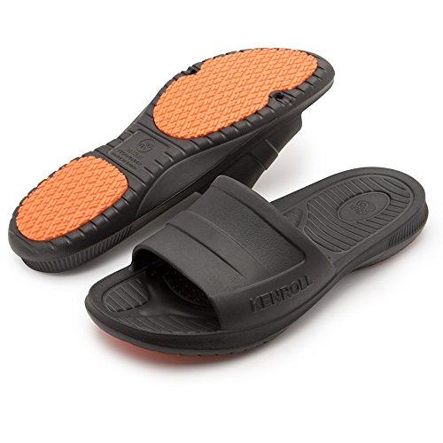 KENROLL Men's Bathroom Shower Anti Skid Sandals Slippers Non-slip EVA Flat Soles Flip Flops (9.5-10, Black)