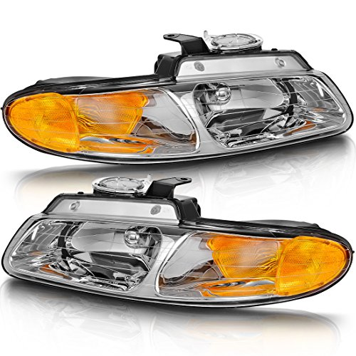 (For 96-00 Dodge Caravan 96-00 Chrysler Town and Country 96-00 Plymouth Voyager Van Headlight Assembly Chrome Housing Headlamp Replacement Set, One-Year Warranty(without Quad)