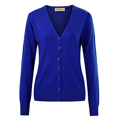 - Panreddy Women's Wool Cashmere Classic Cardigan Sweater V Royal Blue XL