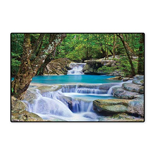 Waterfall,Doormat,Fairy Image of Asian Waterfall by The Rocks in Forest Secret Paradise,Bath Mat for Tub,Green Blue and Brown 24