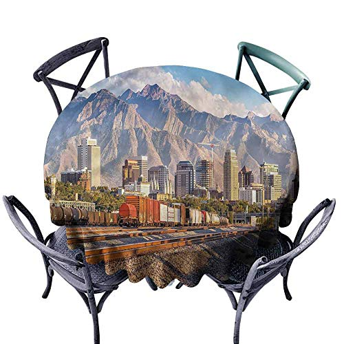 FANOEWI Creative Round Tablecloth Landscape Salt Lake City Utah USA Buffet Table,Parties,Holiday Dinner,Wedding,Picnic,Patio,Kitchen,Dining,Family Room D51