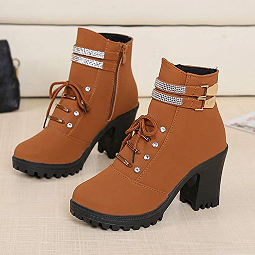 High Herbst Frauen Freizeit Heel Braun Spitzschuh Aushöhlen Junjie Martin Stiefel Schnalle Stiefeletten Party High Strass Outdoor Quadratische Super Winter Unterhaltung Owp5gxdq5