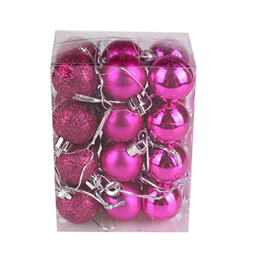 - Archangel Smile 30mm Christmas Xmas Tree Ball Bauble Hanging Home Party Ornament Decor(Pack of 24) (Hot Pink)
