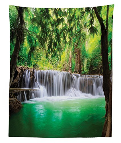 Lunarable Waterfall Tapestry Twin Size, Waterfall in Tropical Forest Trees Thailand Kanjanaburi Sunny Day Image, Wall Hanging Bedspread Bed Cover Wall Decor, 68