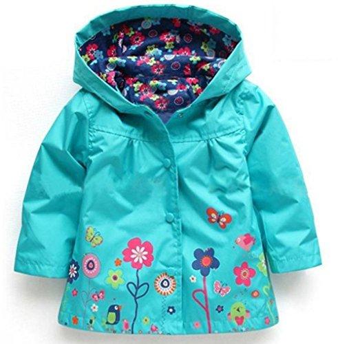Sevenelks Kinder Mädchen Wasserdicht Regenjacke Regenmantel mit Kapuze