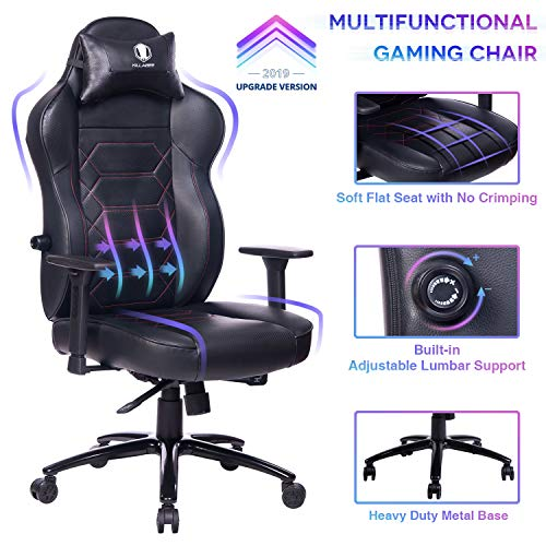KILLABEE Gaming Chair Racing Office Chair – Adjustable Built-in Lumbar Support and Back Angle Ergonomic High-Back Leather Computer Desk Executive Swivel Chair with Wide Flat Seat and Metal Base, Black