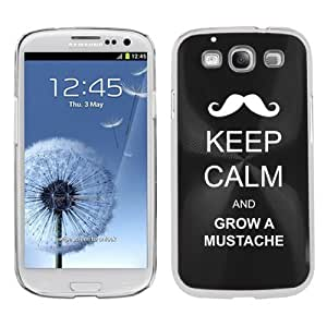 Black Samsung Galaxy S III S3 Aluminum Plated Hard Back Case Cover K46 Keep Calm and Grow a Mustache