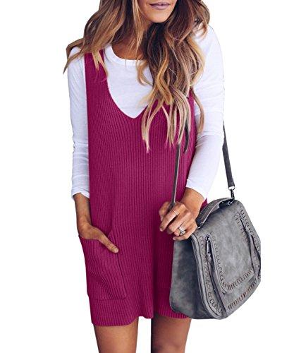 Saodimallsu Womens Racerback Tank Sweater Dresses Fall Ribbed Knit Loose V Neck Dress Pockets Rose