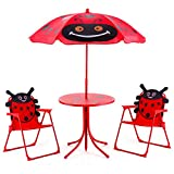 Costzon Kids Table and 2 Chair Set, Ladybug Folding Set with Removable Umbrella for Indoor Outdoor Garden Patio