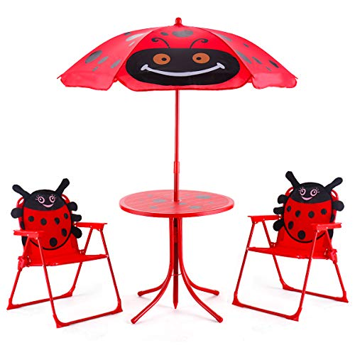 - Costzon Kids Table and 2 Chair Set, Ladybug Folding Set with Removable Umbrella for Indoor Outdoor Garden Patio