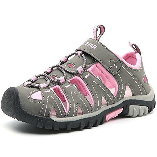 - HOBIBEAR Boys Girls Sport Water Sandals Closed-Toe Outdoor(Toddler/Little Kid/Big Kid) (3 M US Little Kid, Grey/Pink)