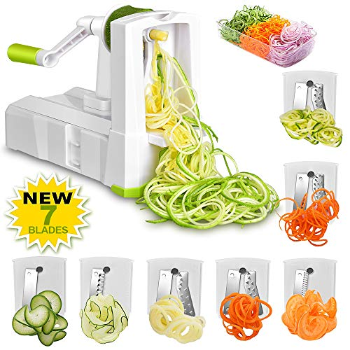 Slicer, Smile mom 7-Blade Spiralizer, Strongest-and-Heaviest Duty Vegetable Spiralizer, Maker for Healthy Low Carb, Paleo, Gluten-Free Meals, with Brash, Container &Lid ()