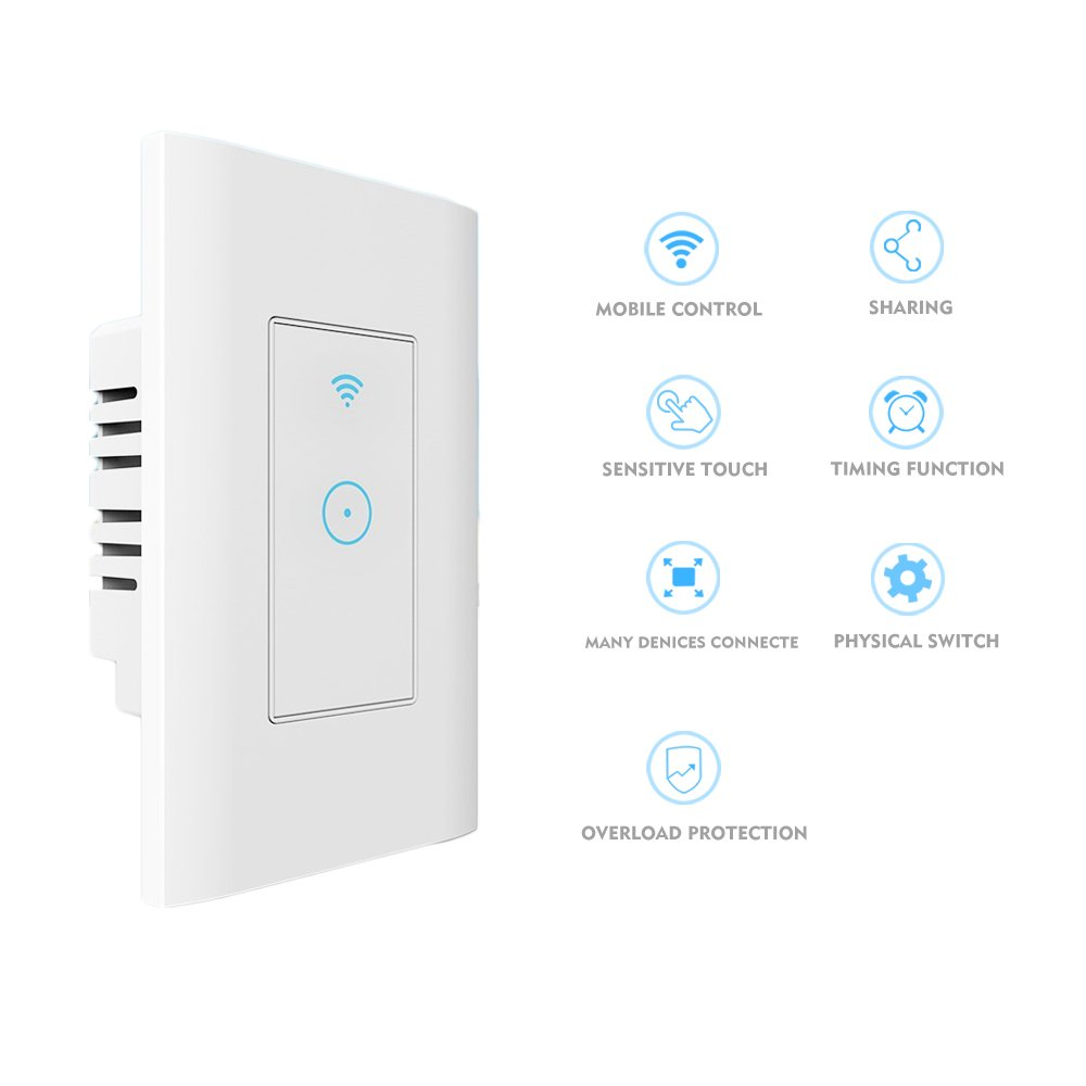 Smart Light Switch In Wall Smartphone Remote Control Wi Fi Ceiling With No Wiring Needed Compatible Alexa And Google Home Hub Required Timing Function