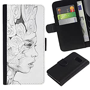 Leather Etui en cuir || Samsung Galaxy S6 || Negro Lápiz Mujer Fashion Art @XPTECH