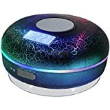 Hromen Bluetooth Shower Speaker IPX7 Waterproof Bathroom Speakers with FM Radio,NFC,LCD Display,Clock, Cool Cracking Backlit,Strong Adhesion Suction Cup Hands-Free Calls …