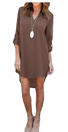fbc332fc8266 hongqiantai Women s Casual Long Sleeve Chiffon Dress T-Shirt Dresses Coffee  XL