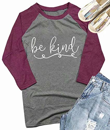 Be Kind 3/4 Sleeve Baseball T-Shirt Womens Christian Letter Print O-Neck Tops Tees Thanksgiving Gift Size S (Gray) -