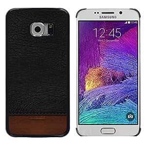 LECELL--Funda protectora / Cubierta / Piel For Samsung Galaxy S6 EDGE SM-G925 -- Black Texture Brown Dark --