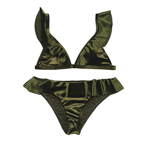 09d67fc3dd FnieYxiu Women s Swimsuits Bathing Suits Solid Color Ruffled Bikini Set Bathing  Suit Two-Piece Swimsuit