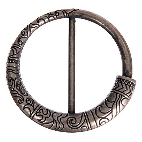 ABS Metal Plated Buckle - Round Shape - Aztec Imprint Design - 50mm Inside Bar - Antique Nickle (Metallic Rhinestone Buckle)