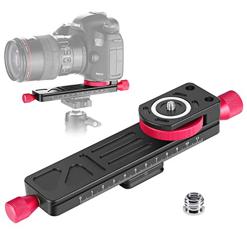 Macro Focusing Rail Slider - Neewer All Metal Wormdrive Macro Focusing Focus Rail Slider/Close-up Shooting Clamp Plate: 115mm Adjustment with 1/4 inch Screw Head for DSLR Cameras,Tripod Ballhead, Arca/RRS Lever Clamp Compatible