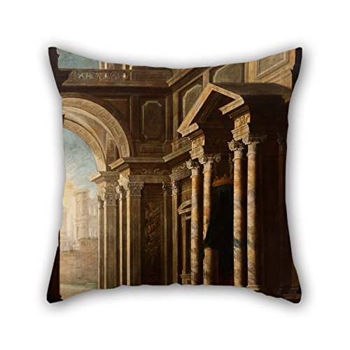 Oil Painting Leonardo Coccorante - View Of The Interior Of A Building Pillow Shams 20 X 20 Inches / 50 By 50 Cm For Club Kids Boys Floor Home Valentine Christmas With Both Sides for Christmas]()