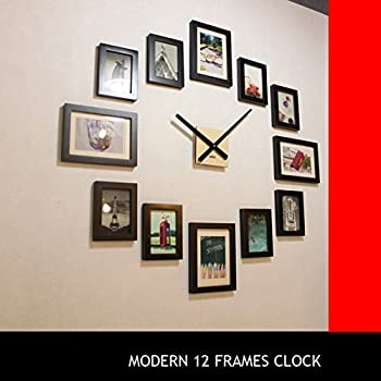 Homeloo Modern 12 Wood Wooden Photo Picture Frame DIY Wall Clock (Black)