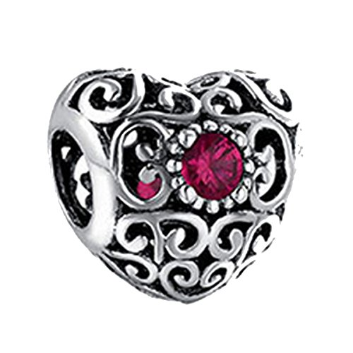 Heart Charm Love Shaped Ruby Cubic Filigree Making Charms (Ruby Red)