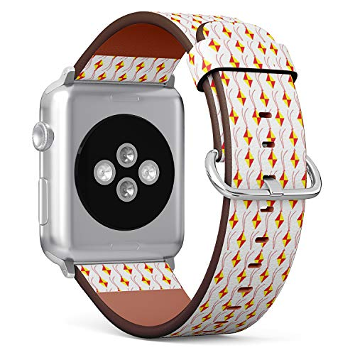 - Compatible with Apple Watch (Small 38mm/40mm) Series 1,2,3,4 - Leather Band Bracelet Strap Wristband Replacement - Kites Modern Traditional Festival