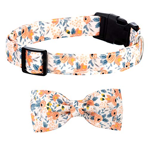 LEJGEQR Dog Collar with Bow Tie,Girl Dog Collars Cute Dog Bow Tie Collar Personalized Dog Collar with Adjustable Buckle Flower Pattern Cute Bowtie Dog Collar for Dogs and Cats Small Medium Large