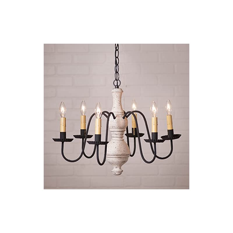 Irvins Country Tinware Medium Chesterfield Chandelier in Americana White